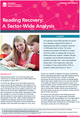Reading Recovery: A sector-wide analysis (PDF, 1MB)